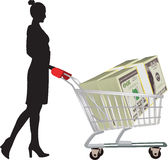 Figure with cart and dollar currenc. Figure with the shopping cart carrying dollar currency Royalty Free Stock Photo