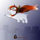 Figure cat superhero in flight,. Vector illustration Royalty Free Stock Photos