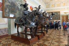 Figure cavalieri e cavalli di guerra medievali nell'eremo, pe della st Fotografie Stock Libere da Diritti