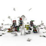Figure in chaos of documents. 3d figure standing in chaos of files and documents Royalty Free Stock Images