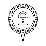 Figure chat bubble with padlock icon. Illustration design Stock Photography