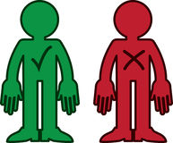 Figure Check X. Green figure with check mark. Red figure with X mark Royalty Free Stock Image