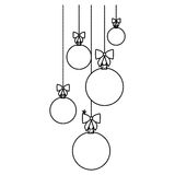 Figure christmas balls hanging icon Royalty Free Stock Photography