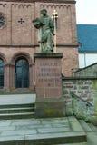 Figure at church entrance. Seligestadt Rhein Main Stock Photo