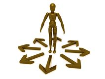 Figure in circle of arrows. A human figure standing in a circle of outward pointing arrows.  Theme:  One-way relations Royalty Free Stock Photos