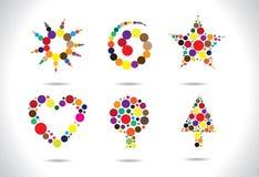 Figure circolari variopinte organizzate per formare i simboli illustrazione vettoriale