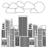 Figure city builds with clouds and sun. Illustraction design Stock Images