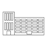 Figure city school building line sticker. Illustration image Royalty Free Stock Photography