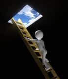 Figure Climbing Ladder to Window out to Sky. High Quality 3D render of a figure climbing a ladder out of a dark place Stock Photos