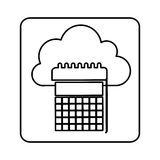 Figure cloud calendar network icon Royalty Free Stock Image