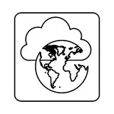Figure cloud data global network icon Royalty Free Stock Images