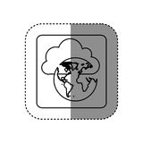Figure cloud data global network icon Stock Photos