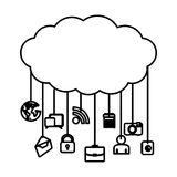 Figure cloud data services apps. Illustration design Stock Photo