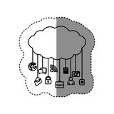 Figure cloud data services apps. Illustration design Stock Images
