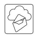 Figure cloud letter network icon Stock Image