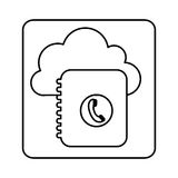 Figure cloud notebook with phone sign network. Illustration Royalty Free Stock Photos