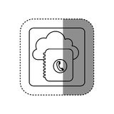 Figure cloud notebook with phone sign network Stock Images