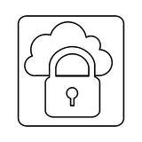 Figure cloud padlock connect icon Stock Photography