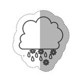 Figure cloud rainning and snowing icon Royalty Free Stock Photo