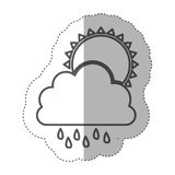 Figure cloud rainning with sun icon Royalty Free Stock Photography