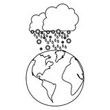 Figure cloud snowing icon Stock Photo
