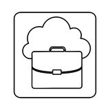 Figure cloud suitcase network icon Stock Photos