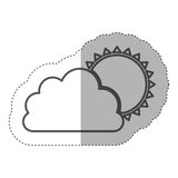 Figure cloud with sun icon Stock Photos