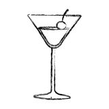 Figure cocktail beverage with cherry icon Royalty Free Stock Images
