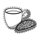 Figure coffee cup with bread icon. Image,  illustration Royalty Free Stock Images