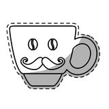 Figure coffee cup with moustache icon. Image,  illustration Royalty Free Stock Photography