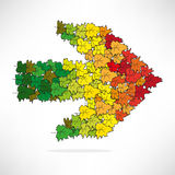 Figure colored leaves in the shape of an arrow Stock Image