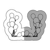 Figure colored party balloon with serpentine icon. Illustraction design Stock Image