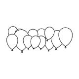 Figure colored party balloons icon Stock Photo