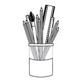 Figure coloured pencils in jar icon Royalty Free Stock Image
