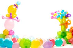 Figure from colourful balloons. Figures made from colourful balloons isolated on white Royalty Free Stock Photography