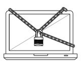 Figure computer with chain and lock icon. Image,  illustration design Royalty Free Stock Photography