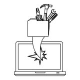 Figure computer file with tools and hole icon. Illustraction design Stock Photo