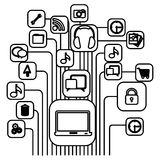 Figure computer icons connections Stock Image