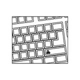 figure computer keyboard with gear symbol icon Stock Photo
