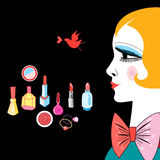 Figure cosmetics items and girl. Vector banner with beautiful girl and various cosmetics Stock Photo