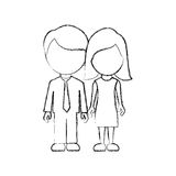 Figure couple sticker icon Royalty Free Stock Images