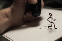 Figure courante faite par le stylo 3D images libres de droits
