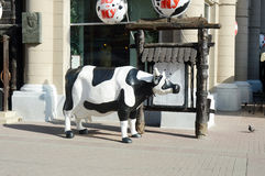 Figure cows on Arbat Street Moscow. Russia Royalty Free Stock Photos