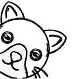 Figure cute cat head pet animal. Vector illustration Stock Photo