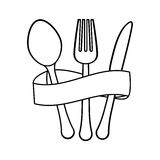 Figure cutlery with elastic icon image Royalty Free Stock Image