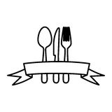 Figure cutlery with ribbon icon Royalty Free Stock Photography