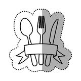 Figure cutlery with ribbon icon Stock Images