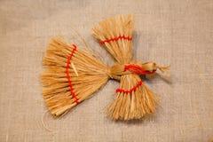 Figure d'oiseau de paille. Souvenir russe Photographie stock