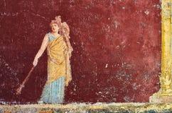 Figure d'une femme peinte dans un fresque dans un Domus de Pompeii, Italie images stock