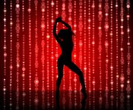 The figure of a dancing woman on a red glitter background. Universal texture for decoration of any holiday event, party or show. Erotic dance or Striptease Stock Photo